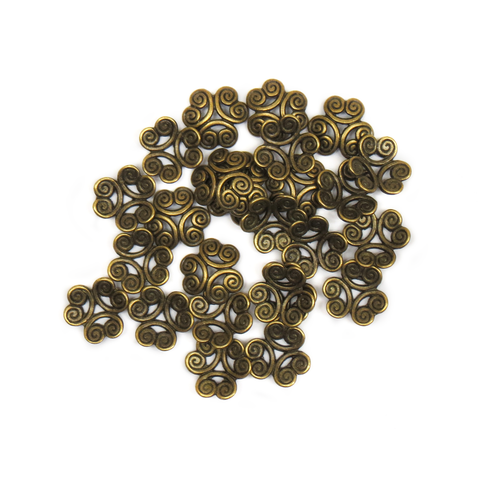 Flower End Cap, Antique Bronze, 11mm; 25 pieces