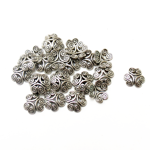 Heart End Caps, Antique Silver-13mm; 25pcs