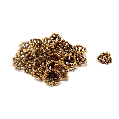 Daisy Bead Caps, Alloy Antique Gold-5x9mm; 25pcs