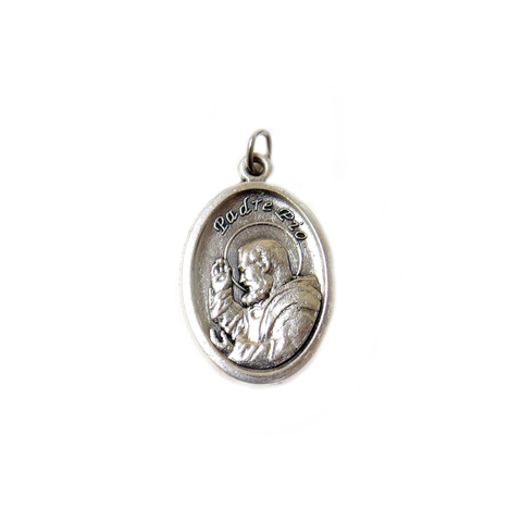 ''Padre Pío'' Italian Charm, Antique Silver, 25x16mm - 1 piece