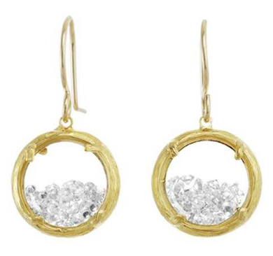 HANDMADE MINI SHAKER EARRINGS: 18K GOLD VERMEIL WITH WHITE CRYSTAL by Catherine Weitzman