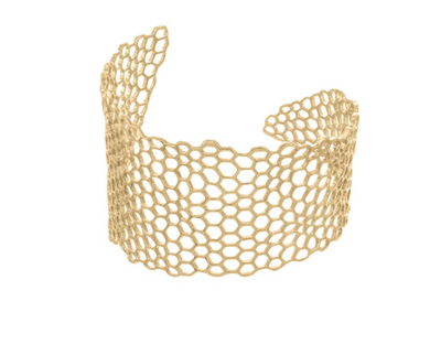 HANDMADE Honeycomb Cuff Bracelet: 18K Gold Plate by Catherine Weitzman