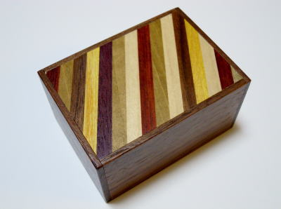 3 Sun 12 Step Striped/Natural Wood Japanese Puzzle Box