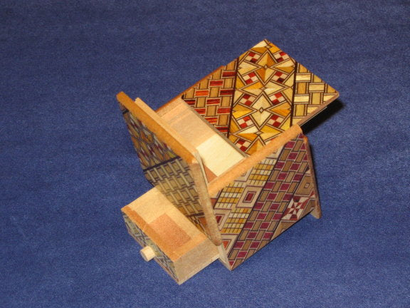 2 Sun 4 Step Yosegi Cubic WITH HIDDEN DRAWER Japanese Puzzle Box  By Mr. Oka