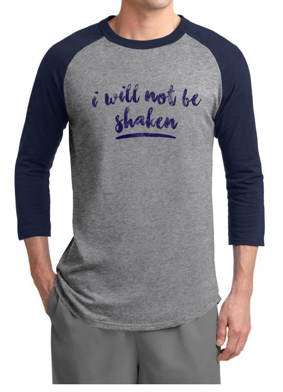 Shaken- Unisex Raglan, Heather Gray/Navy