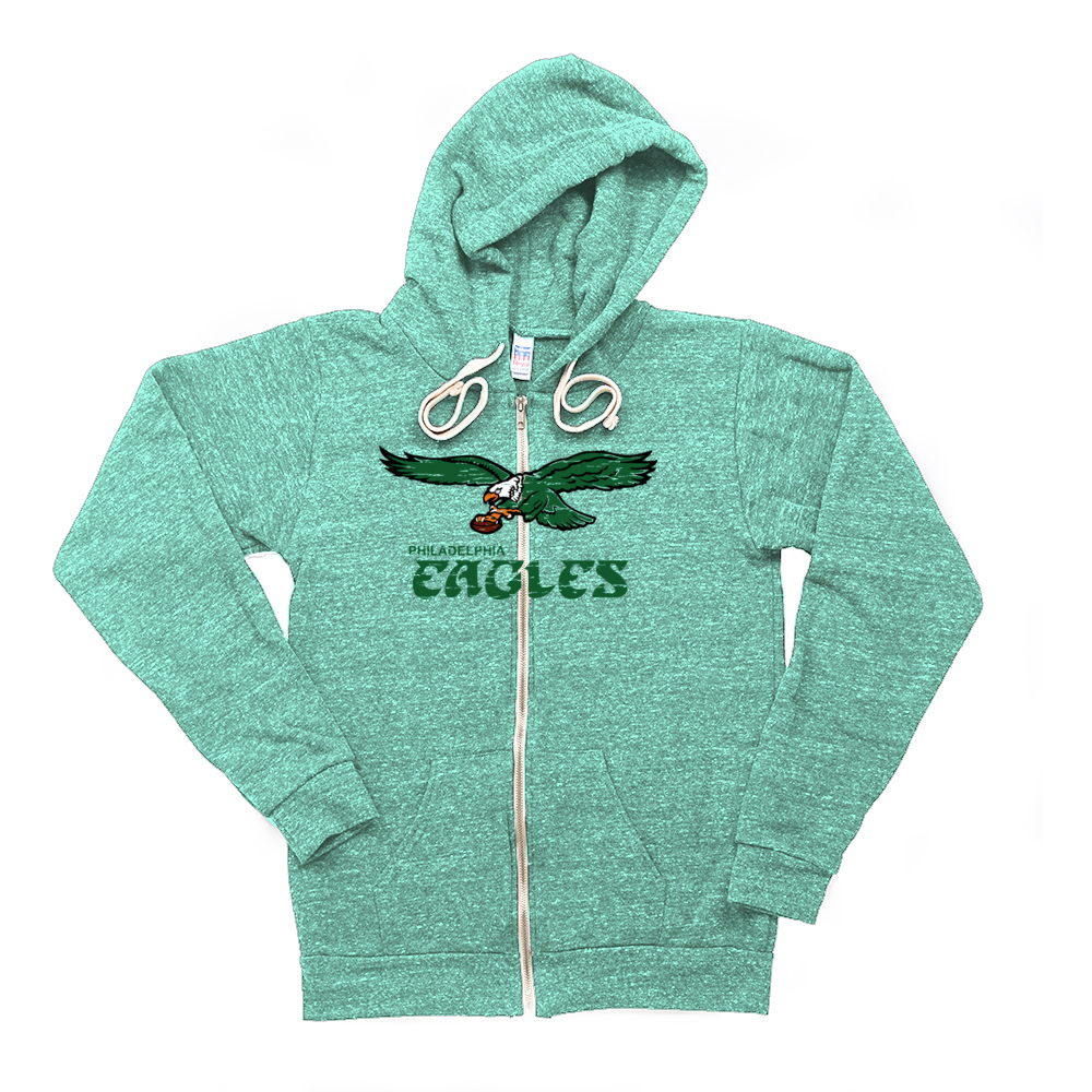 Retro Philadelphia Eagles Inspired Soft Unisex Tri Blend Zip Up Hoodie