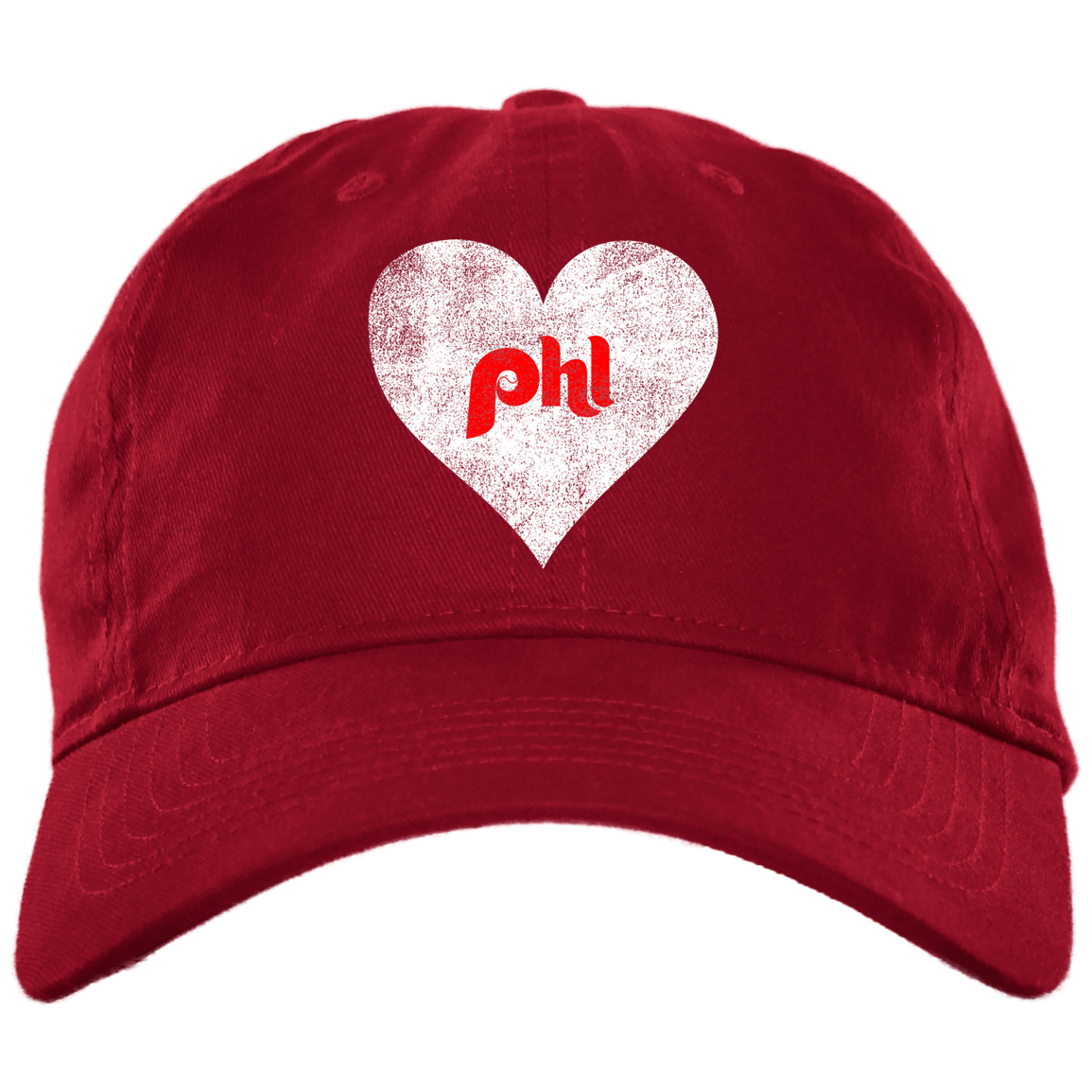 Philly Baseball Heart Brushed Twill Unstructured Embroidered Dad Cap