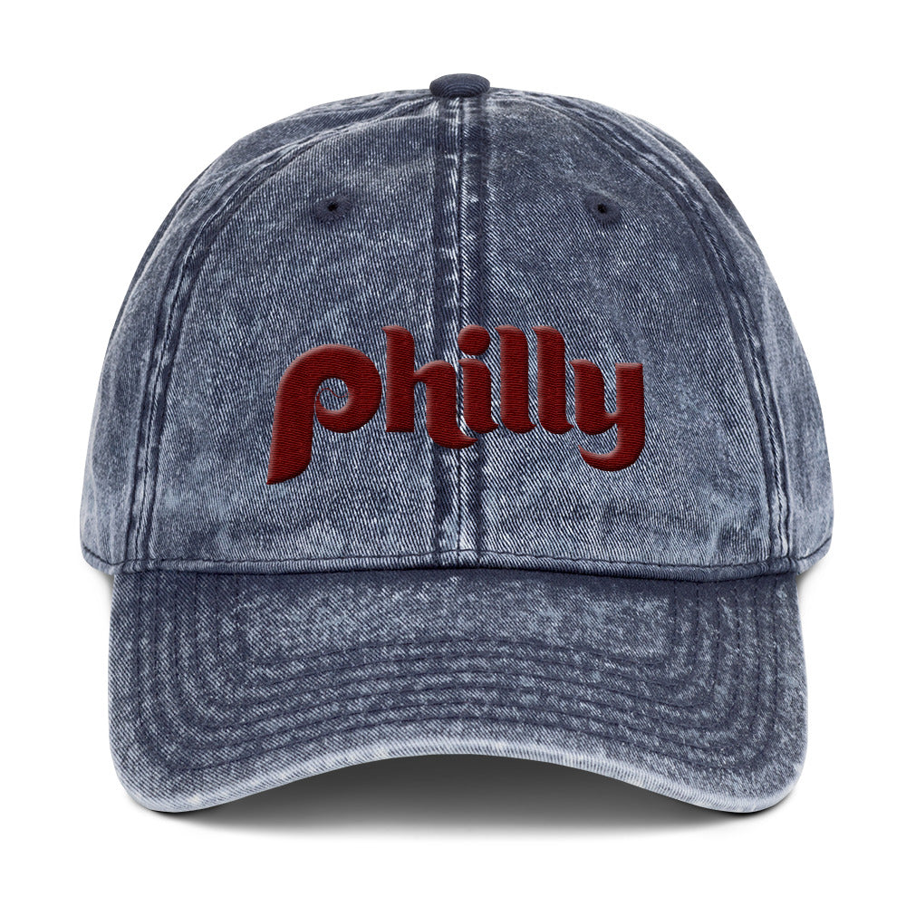 Retro Philly Baseball Script Blue Vintage Cotton Twill Cap