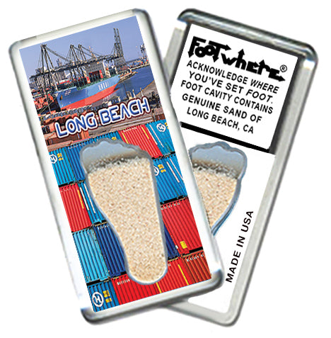 Long Beach FootWhere® Souvenir Fridge Magnet. Made in USA - FootWhere® Souvenirs