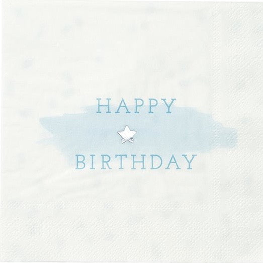 """We Heart Blue"" Happy Birthday Napkins - Large -  Party Decorations - Talking Tables - Putti Fine Furnishings Toronto Canada - 1"
