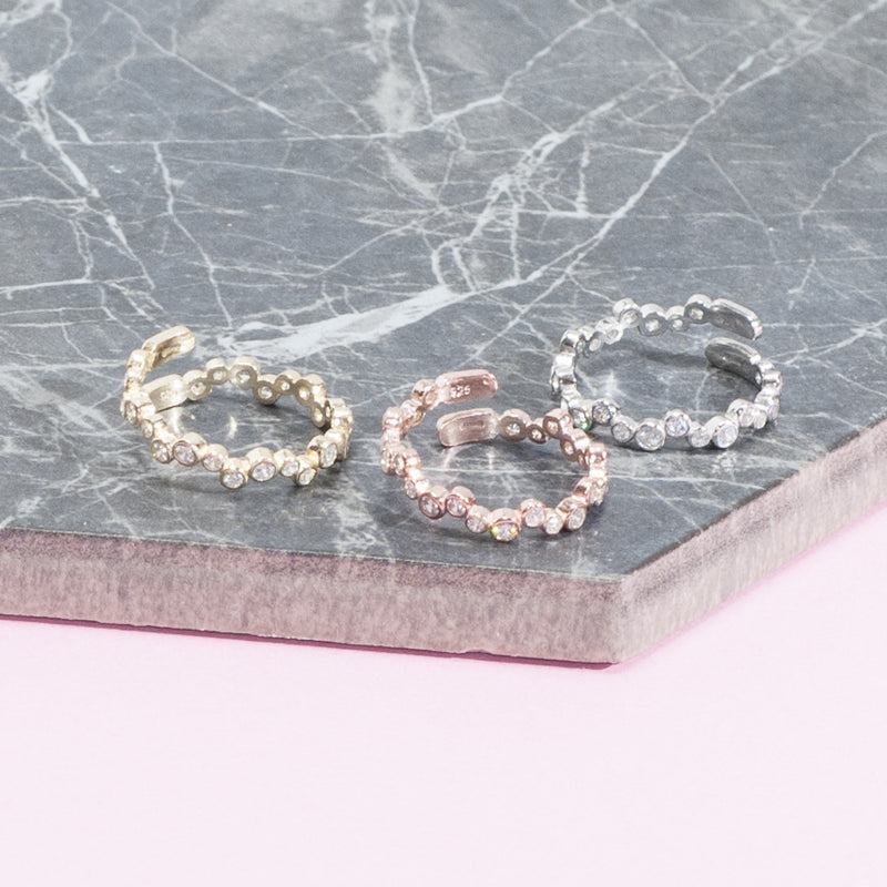 IRREGULAR PAVE STACKING RINGS