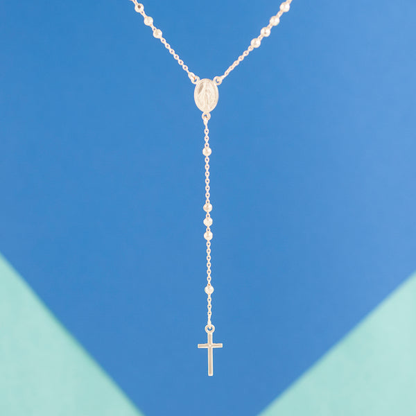 GOLD ROSARY LARIAT NECKLACE