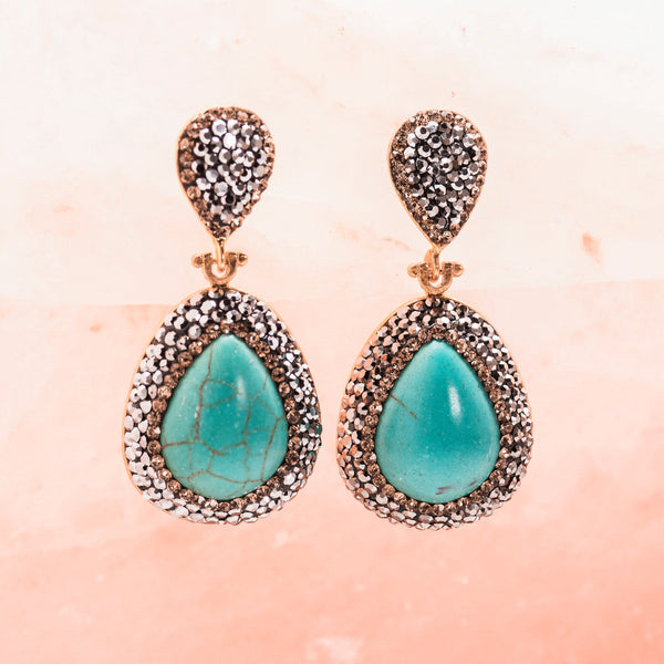 TURQUOISE AND CRYSTAL DROP EARRINGS
