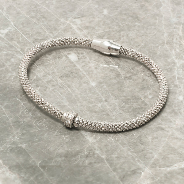 DIAMOND CUT SILVER BRACELET WITH ZIRCON RING