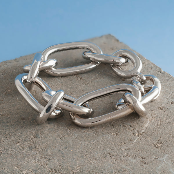LARGE THICK SILVER CHAIN BRACELET