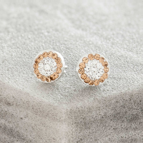 SWAROVSKI CRYSTAL AND GOLD STUD EARRINGS