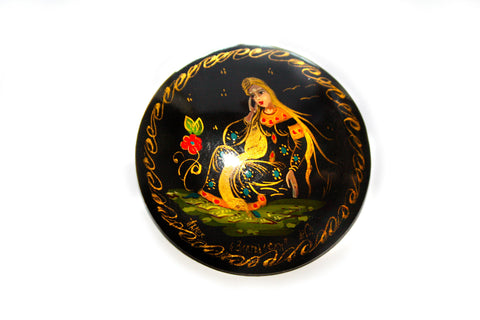 1960s Russian Hand-Painted Brooch Signed
