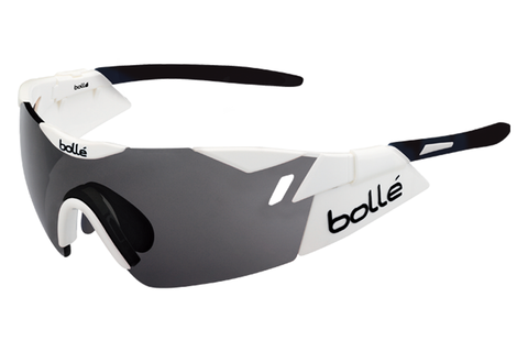 Bolle - 6th Sense Shiny White/Black Sunglasses, Modulator Clear Grey Oleo AF Lenses