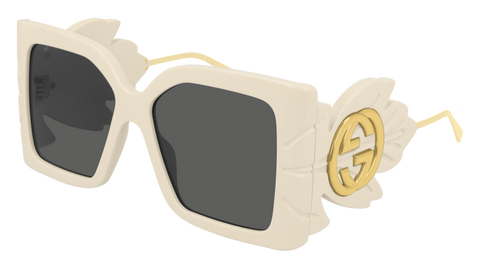 Gucci - GG0535S 56mm Shiny Ivory Sunglasses / Grey Lenses