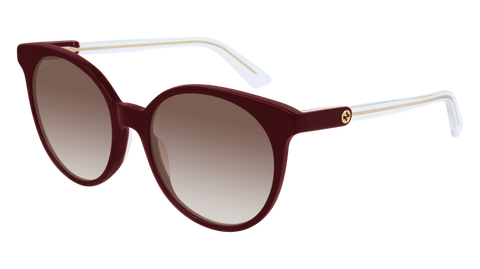 Gucci - GG0488S 54mm Shiny Burgundy Sunglasses / Brown Lenses