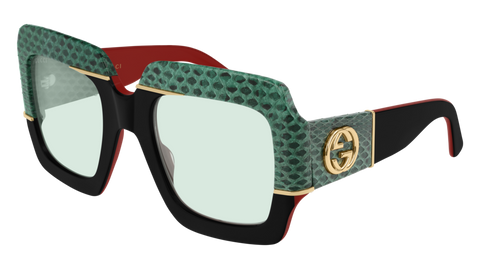 Gucci - GG0484S 54mm Red Black Sunglasses / Green Lenses