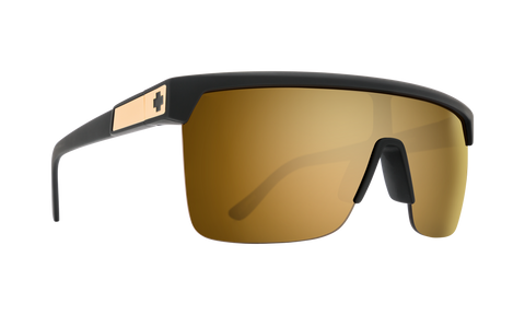 Spy - Flynn 5050 25 Anniv Matte Black Gold Sunglasses / HD Plus Bronze Gold Spectra Mirror Lenses