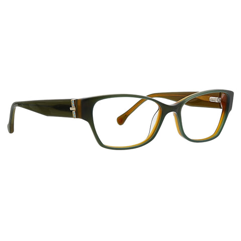 Trina Turk - Britt 52mm Green Brown Eyeglasses / Demo Lenses