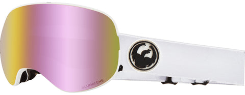 Dragon - X2 White Snow Goggles / Pink Ion + Dark Smoke Lenses