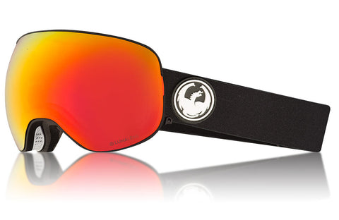Dragon - X2 Black Snow Goggles / Lumalens Red Ion + Lumalens Rose Lenses