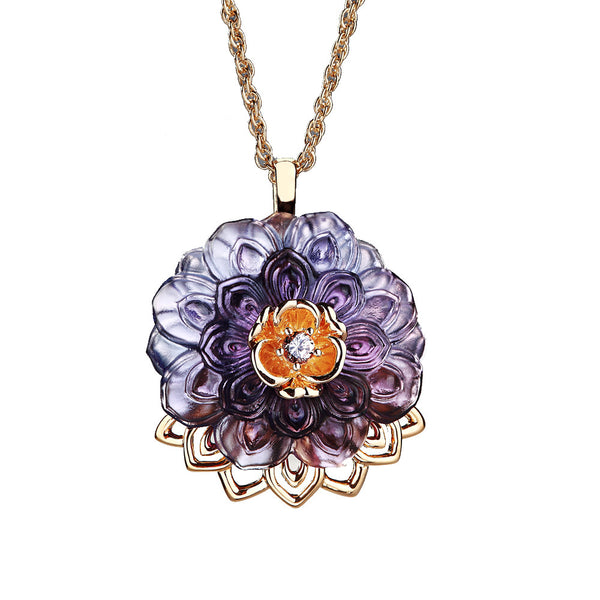 "-- DELETE -- Necklace (Crystal Flower, Blessing) - ""An Opulent Talisman"" - LIULI Crystal Art"