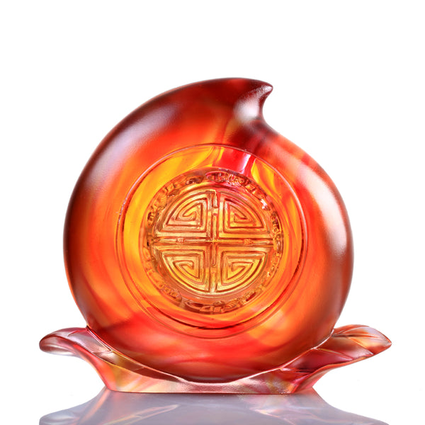 A Good Day, A Good Year, A Good Life (Flourishing Life) - Auspicious Peach Figurine - LIULI Crystal Art