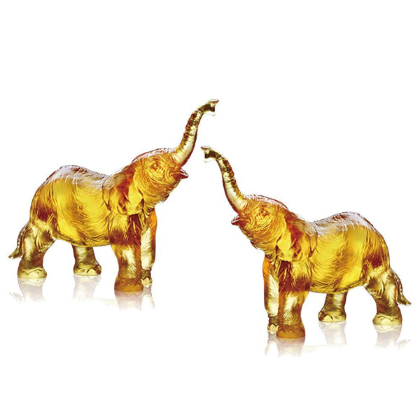 -- DELETE -- Forever Toward the Sky (Ambition) - Elephant Figurines (Set of 2) - LIULI Crystal Art