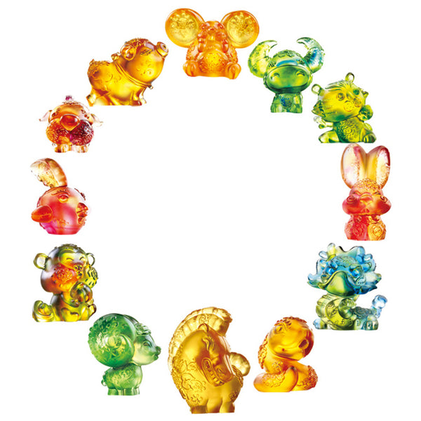 Chinese Zodiac Animals in Bright Florals (Set of 12) - LIULI Crystal Art