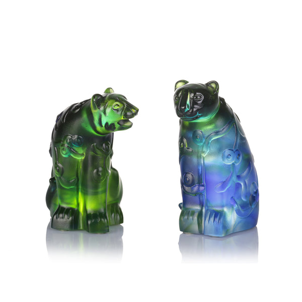 A Pair of Flowered Tiger and Tigress (Zodiac) - Tiger Figurine (Set of 2pcs)
