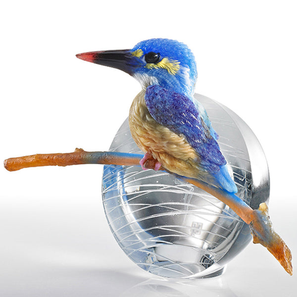 To See, Is To Believe - Kingfisher - Bird Figurine (Behold Our Dream Taking Off) - LIULI Crystal Art | Collectible Glass Art