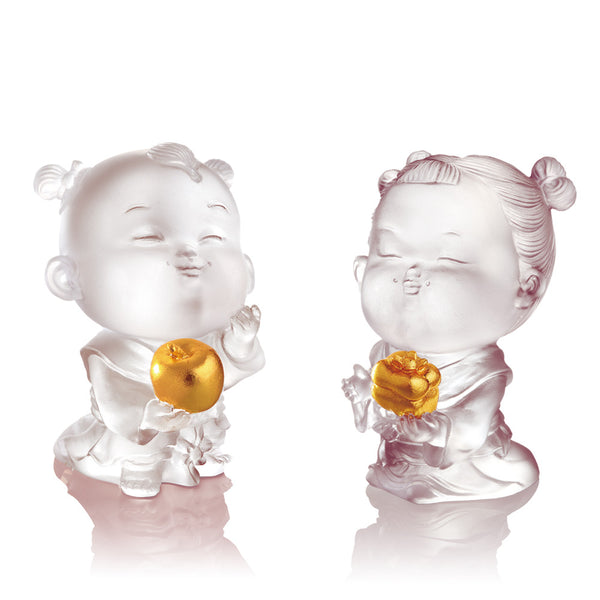 Doll of Peace & Good Fortune - Baby Peace & Baby Ruyi (Set of 2) - LIULI Crystal Art
