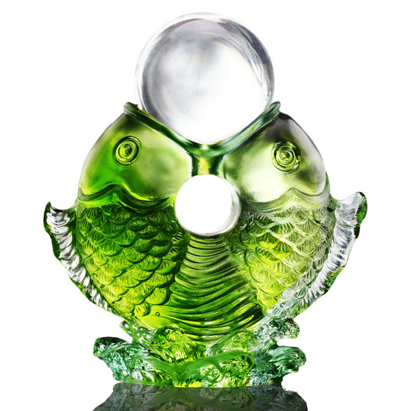 Twin Fish Turning of Ruyi (Promote Luck and Fortune) - As The Good World Turns - LIULI Crystal Art | Collectible Glass Art