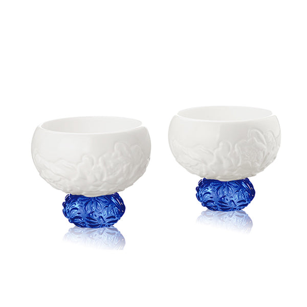 Bone China Sake Cups - Seasonal Treasures-Spring Peony (Set of 2) - LIULI Crystal Art