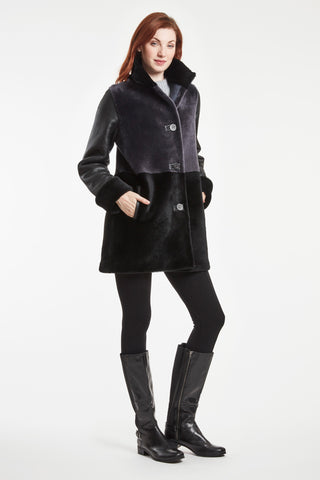 COLOR BLOCK SHEARLING JACKET #246