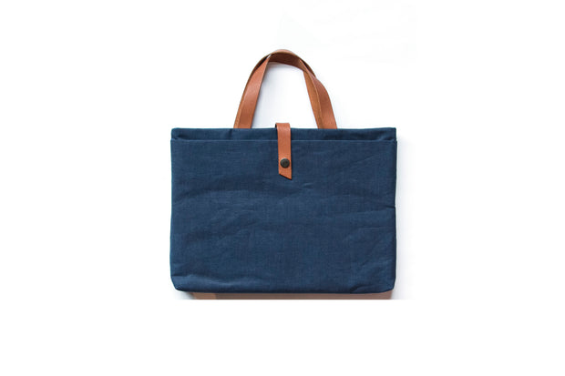 Laptop Bag - Blue Linen with Tan Handles