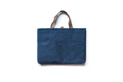 Laptop Bag - Blue Linen with Toffee Handles