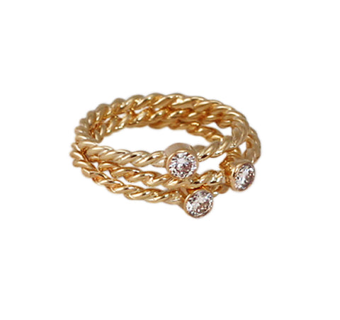 14kt gold diamond twist ring trio