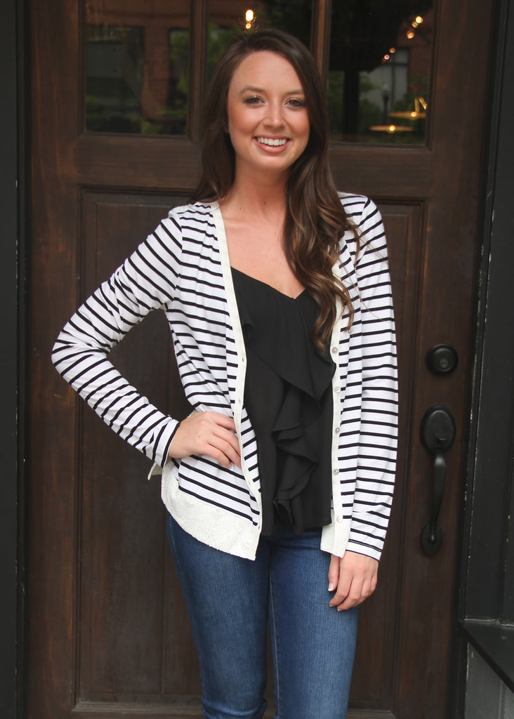 LACE DETAIL STRIPE CARDIGAN