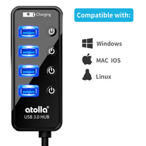Powered 4-port USB 3.0 Hub (204-WX)