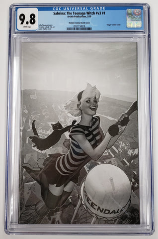 SABRINA THE TEENAGE WITCH #1 EXCLUSIVE ADAM HUGHES B&W VIRGIN VARIANT CGC 9.8