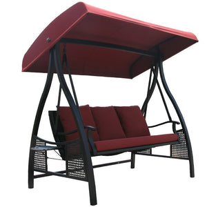 Abba Patio 3 Person Outdoor Metal Gazebo Padded Porch Swing Hammock with Adjustable Tilt Canopy, Red