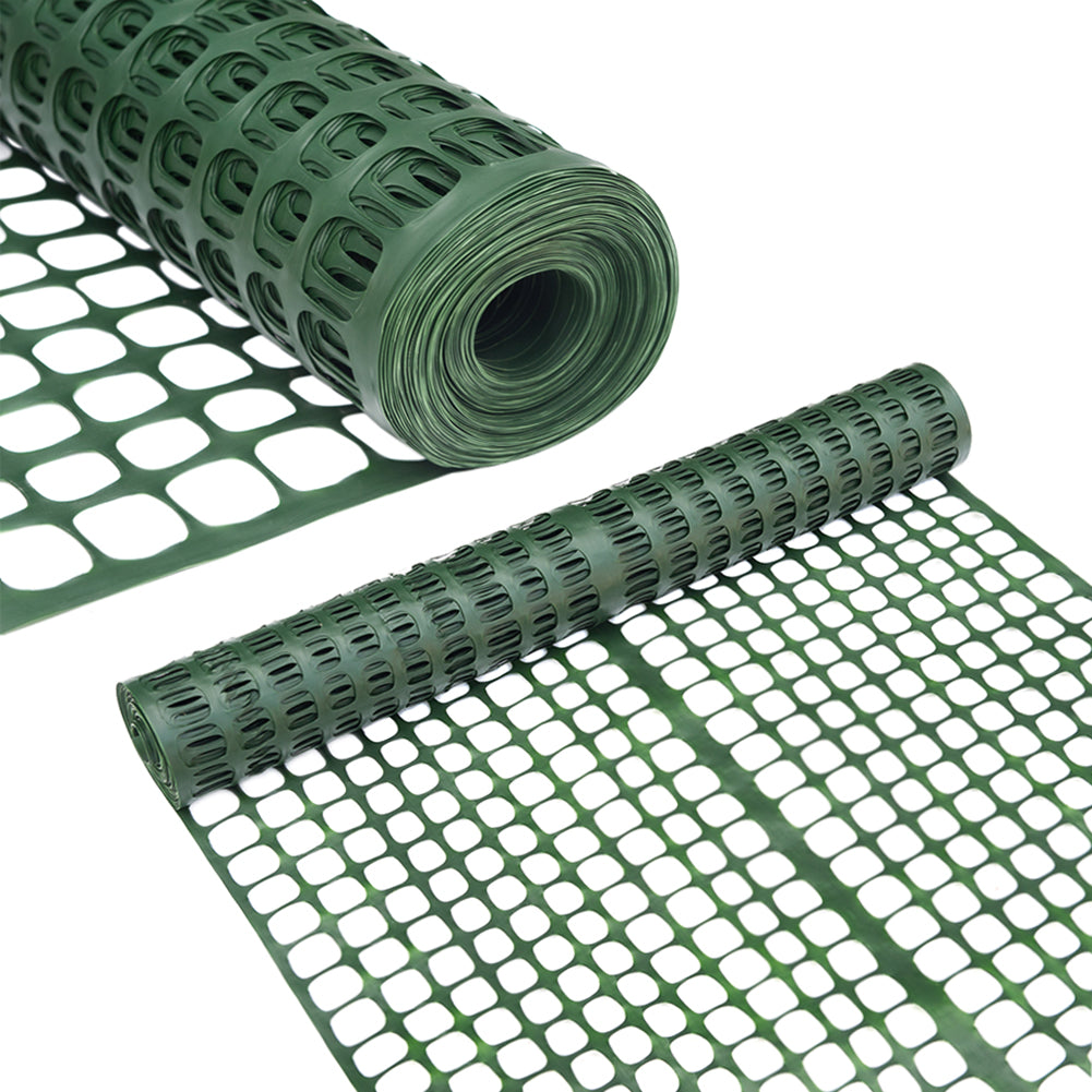 Abba Patio Snow Fencing, Lightweight Safety Netting, Recyclable Plastic Barrier Environmental Protection, Dark Green, 2 X 25' Feet