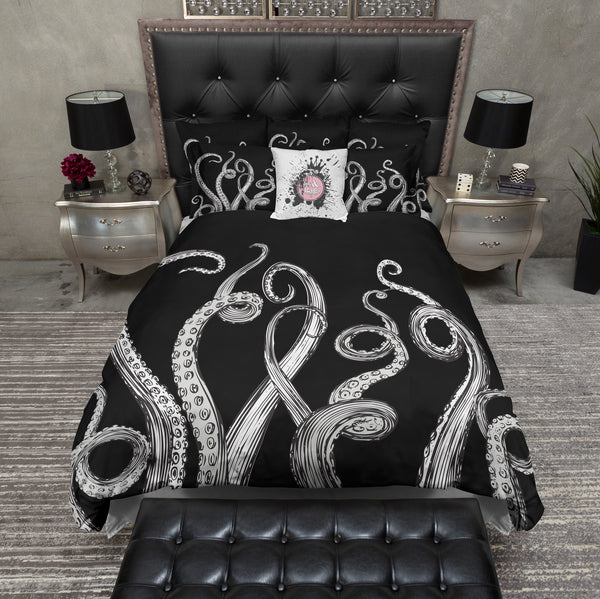 Black and White Octopus Tentacle duvet