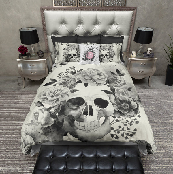 Black and Cream Watercolor Skull Bedding CREAM