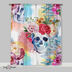 Bright Watercolor Skull and Flower Native American Indian Headdress Curtains